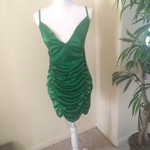 New PrettyLittleThing Rusch Green Dress